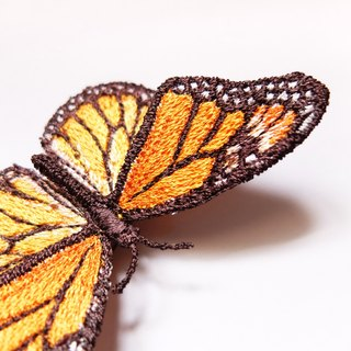 Embroidery Butterfly Brooch / Monarch Butterfly (medium)