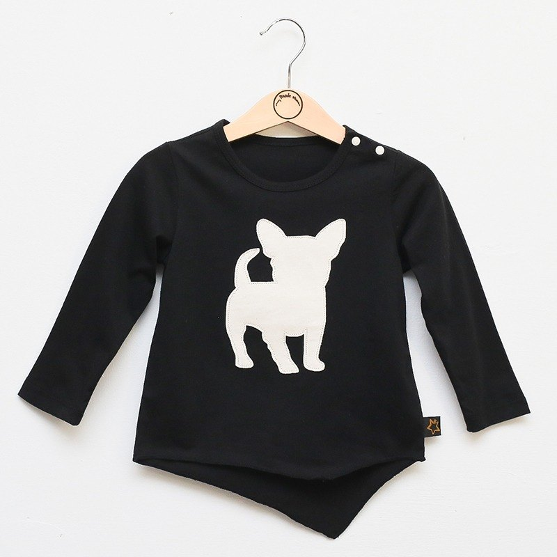 My little star - little dog organic cotton thin T-shirt (black)