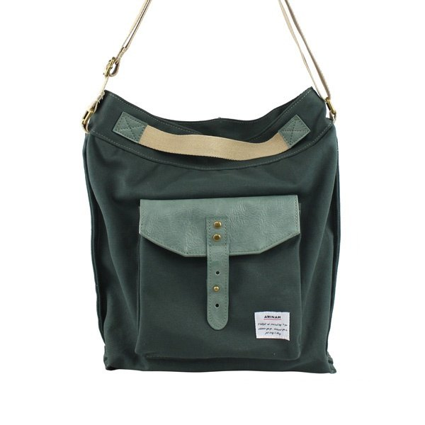 AMINAH-Japanese natural wind green canvas side back / shoulder bag [am-0248]