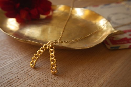 Gold Wishbone  Lace Necklace, Bridesmaids Gifts, Birthday gift