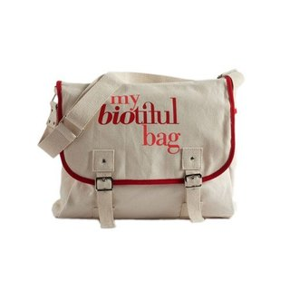 法國my biotiful bag有機棉Messenger Bag-Red
