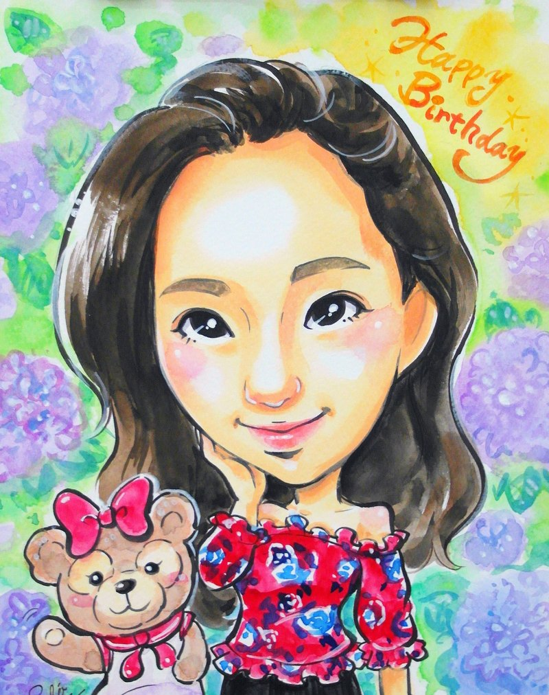 Like Yan painted _ watercolor hand-painted cartoon portrait _ single half-length portrait (with photo frame)