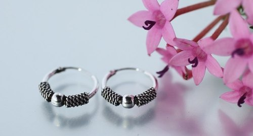 Classical silver beads silver hoop earrings (in) ‧ ‧ moonlight silver sterling silver retro