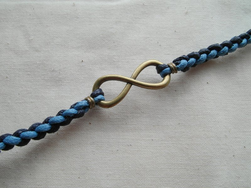 ~ M + Bear ~ Love Unlimited Love Unlimited, 8 wax rope braided bracelet (bronze blue)