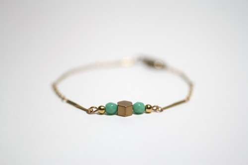 Small blue-green natural stone brass hexagonal geometric shape Bracelet
