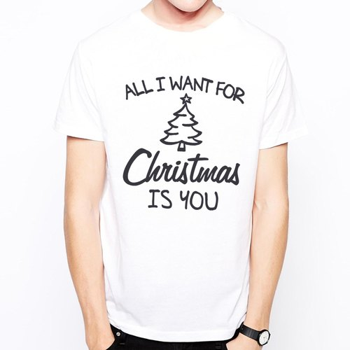 ALL I WANT FOR CHRISTMAS IS YOU T-shirt -2 color Christmas I want you to design text English text Green Couple