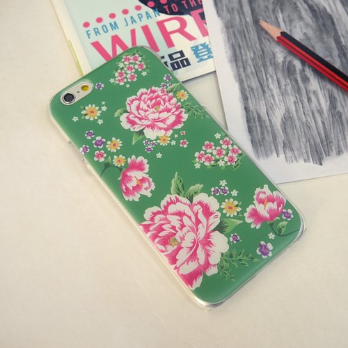 Hong Kong Style Chinese Flower Green Print Soft / Hard Case for iPhone X,  iPhone 8,  iPhone 8 Plus, iPhone 7 case, iPhone 7 Plus case, iPhone 6/6S, iPhone 6/6S Plus, Samsung Galaxy Note 7 case, Note 5 case, S7 Edge case, S7 case