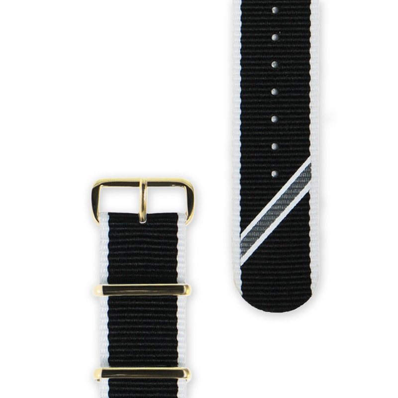 HYPERGRAND Military Strap - 22mm - Black and White Twill (Gold Button)