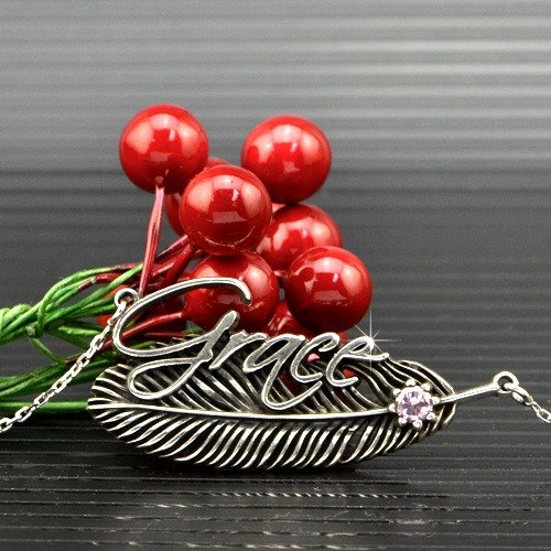 Customized .925 sterling silver jewelry name necklace feather FEN00006-