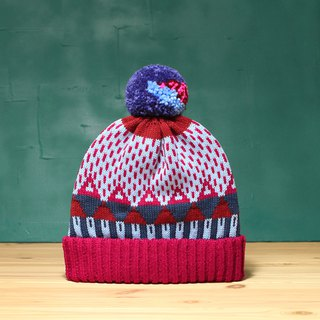 Magenta Triangle Detachable PomPom Beanie Hat