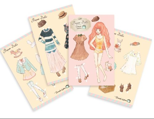 Brenda small suitcase vintage paper dolls into kits postcard [Four]