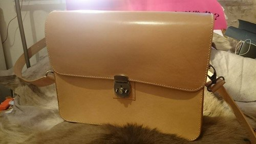 Hand-tanned leather bag oblique fashion stewardess BY L'Chaim Leathercraft