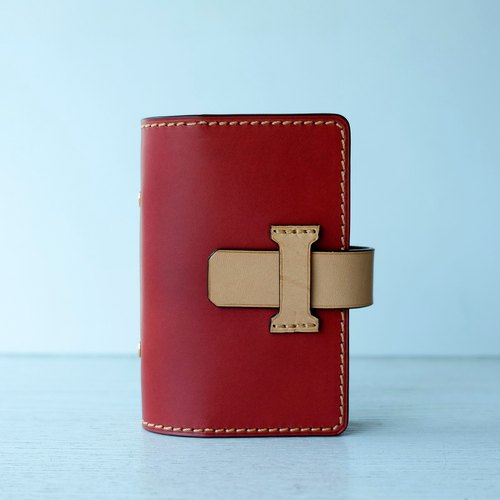 isni [Multifunction card case / card holder] orange-red retro design /handmade leather/free imprint