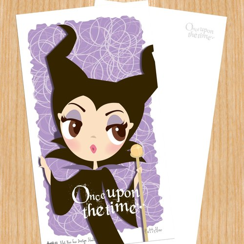 Sell ​​heads Princess Series postcard - Meise Fei Maleficent