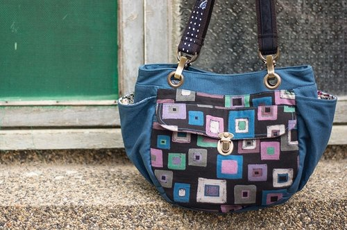 Love the Earth hand-made bag * 3-layer geometry pop style handbag | choose your favorite fabric