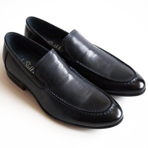 [LMdH] D1B17-39 calfskin hand-painted Venetian-loafers shoes I punched wooden heel loafers dark blue ‧ ‧ Free Shipping