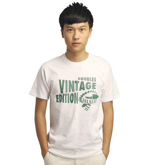20% coupon Doodles simple white T-shirt boys, complex grams version Vingtage Edition