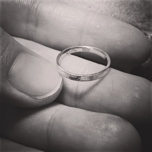 "♥ ♥ 925 Valentine's Day custom handmade silver - ""plain wrought fine knock Edition"" tail ring / ring"