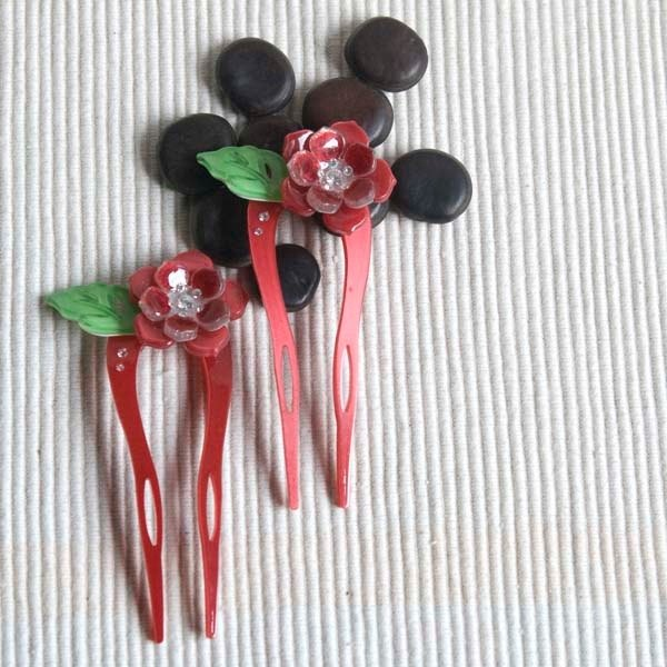 [MITHX] color of Something New, U-shaped hairpin, hairpin, hair plug - Red