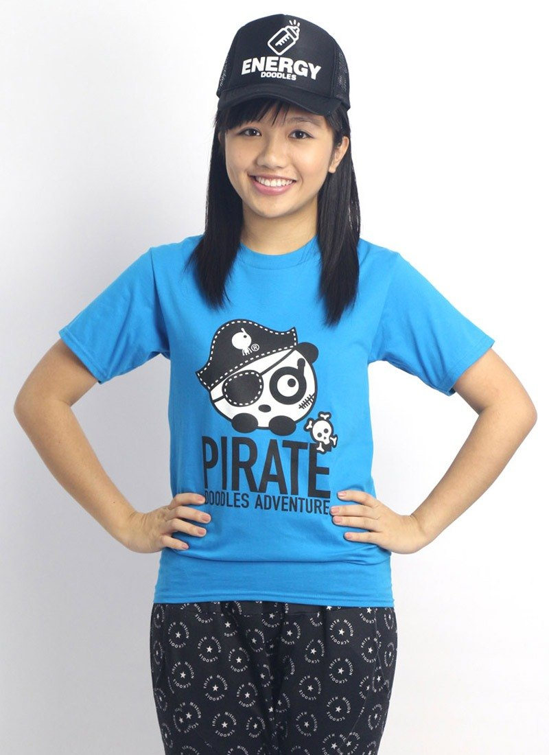 "Doodles original neutral Q version of ""pirate cat state"" boom-type, simple blue T-shirt"