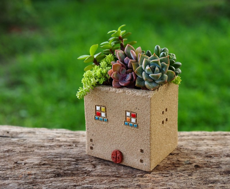 [Garden Cottage Garden] Tao hand-made - super cute Garden Cottage (S) / rock gray / Ceramic House