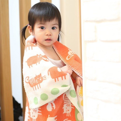 Sweden Klippan Gentle cotton baby blanket - Small fragrant orange Africa