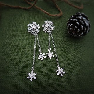 Christmas heart snowflake-two pieces (925 sterling silver earrings) - C percent