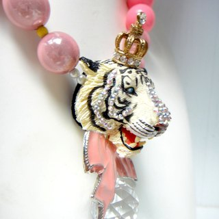 White tiger head color thick bead necklace