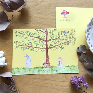 * Zoe's forest * tree and bunny postcard (cs15)