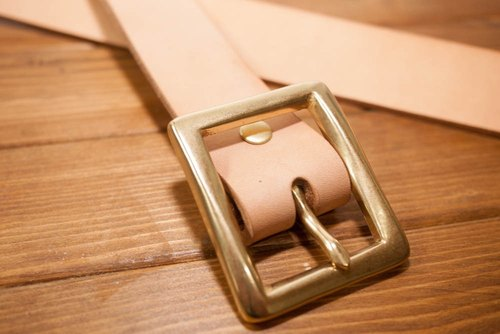 Dreamstation leather Pao Institute, Italian vegetable tanned leather handmade belt 3.5CM (primary) - belt / belt / Brass