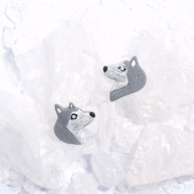 Husky Stud Earrings, Husky Earrings, Siberian Husky Earrings