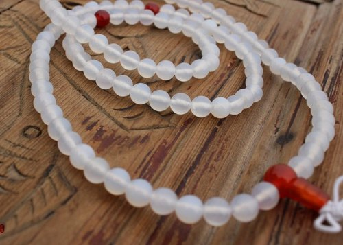 108 Series] AA grade white agate beads decorated red agate 6mm