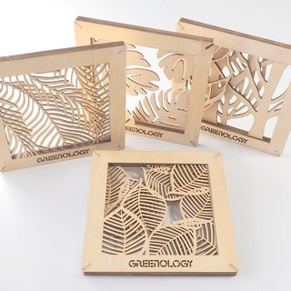 Greenology wall hanging wood carving decoration (1 set of 4 pieces)