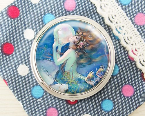 Mermaid - jewelry storage box storage box ︱ ︱ headset handicraft small objects storage box ︱ ︱ built round mirror side fashion accessories