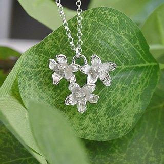 Three Tung flowers(925 sterling silver necklace) - C percent handmade jewelry