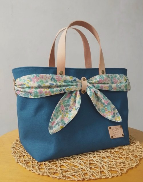 Japan 8 canvas series ~ ♡ turquoise blue butterfly scarf ♡ tote bag / handbag