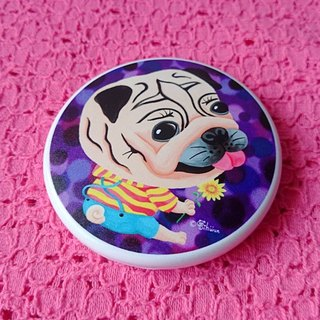 Pocket Mirror-Sunflower Pug
