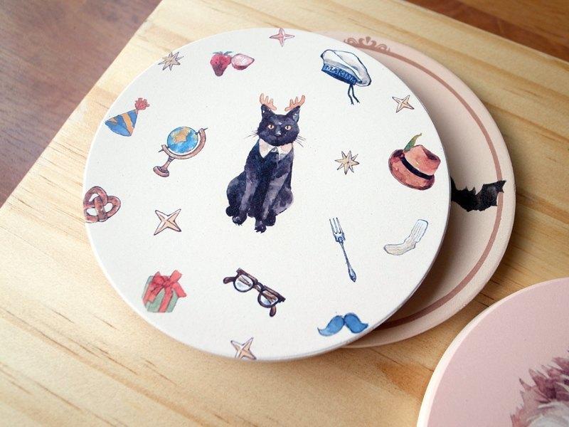 小動物圓滾滾陶瓷杯墊 / 麋鹿貓