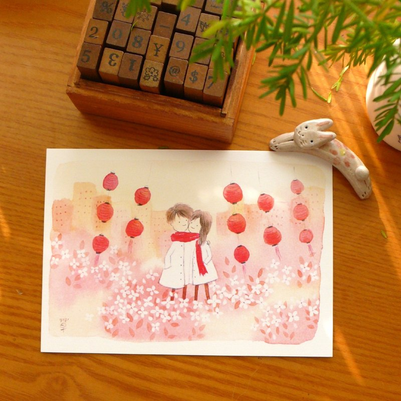 Red winter postcard