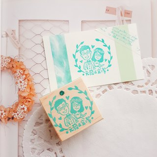 Red warm handmade rubber stamp | laurel leaf simple wedding 4X4cm