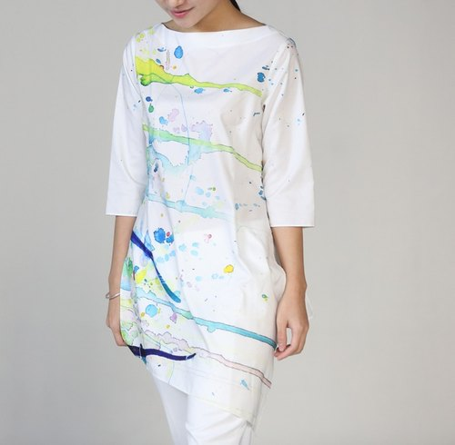 DiiiD barometer drops of spray Jackets shirt printing gown Chinese cheongsam girls spring and summer style gown Cailang