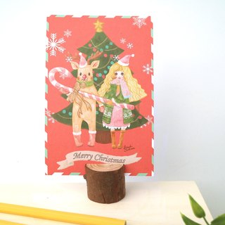 Christmas card Christmas girl with elk / illustration postcard