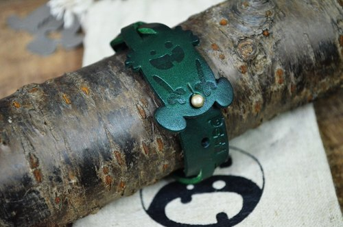 【Peej】'Outie' Leather Bracelet / Green