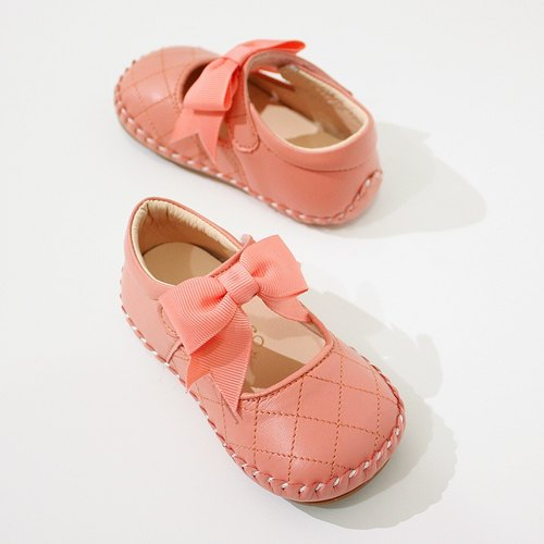 AliyBonnie children's shoes small fragrance Ling Check baby shoes - coral powder 12.5