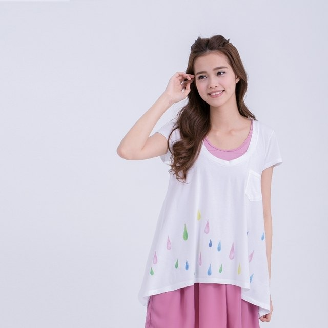 Rainbow rain Triangle shape cotton T-shirt