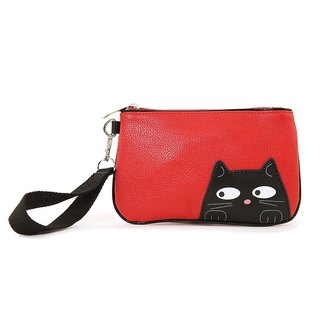 Sleepyville Critters - Peeking Black Cat Wristlet