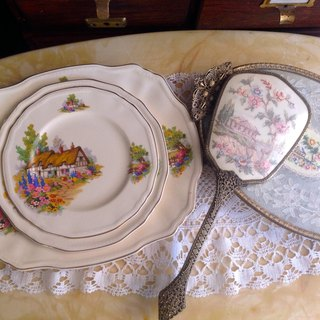 1930 British bone china hand-painted antique rustic cottages cake plate fruit plate inventory heart ~ Rustic Style ♥ ♥ Annie crazy Antiquities