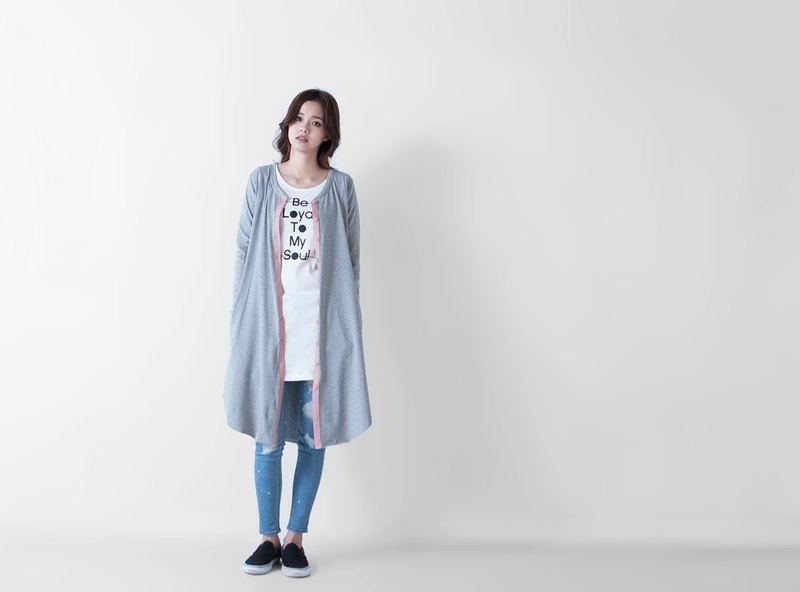 SUMI PLUS + △ No side long version smock jacket ▽ 3AF220_ cannabis gray
