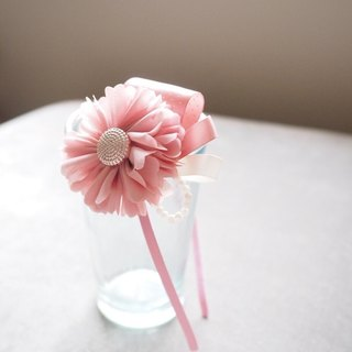 Handmade Hair Accessory with fabric pink flower