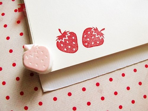Apu handmade rubber stamp cute strawberry seal